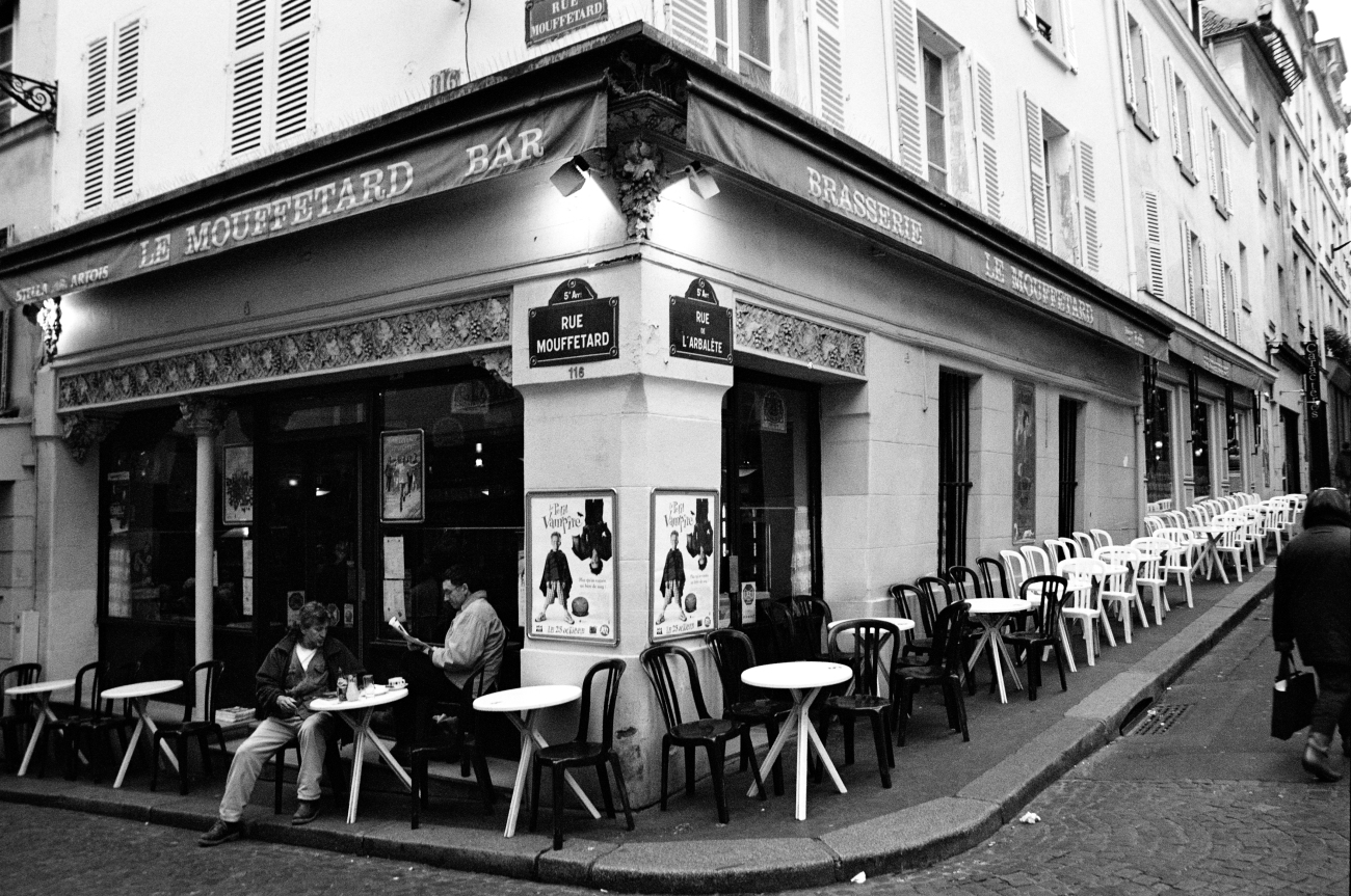 Rue Mouffetard bar in Paris black & white photo | a photography ...
