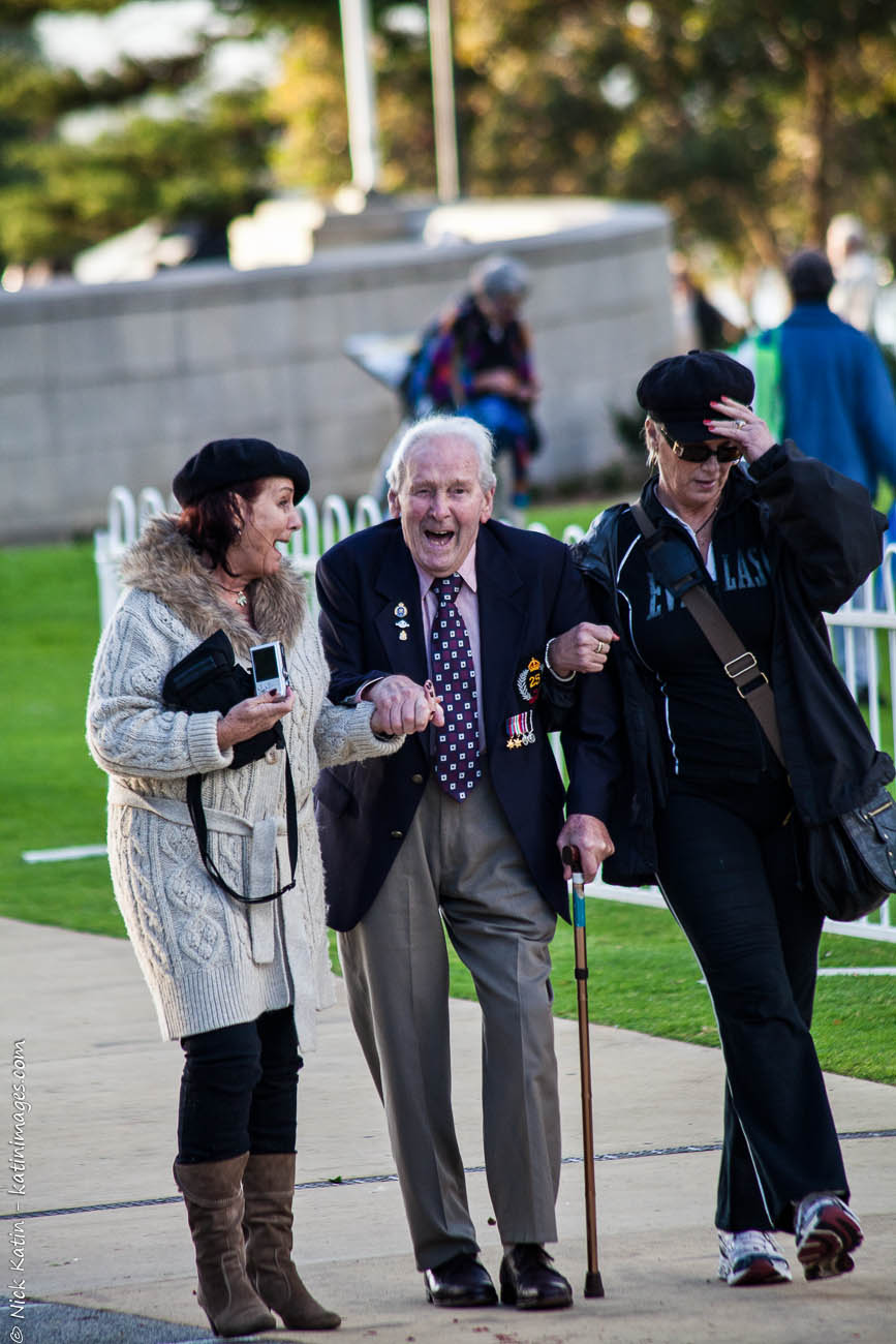 Anzac Veteran and friends after the dawn service on Anzac day Perth