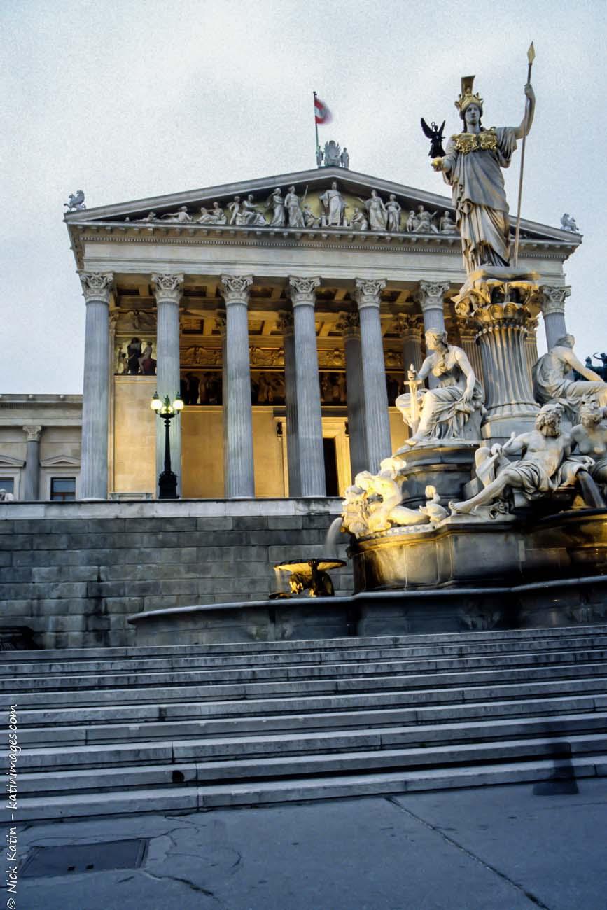 City hall. Vienna's city hall at dusk.