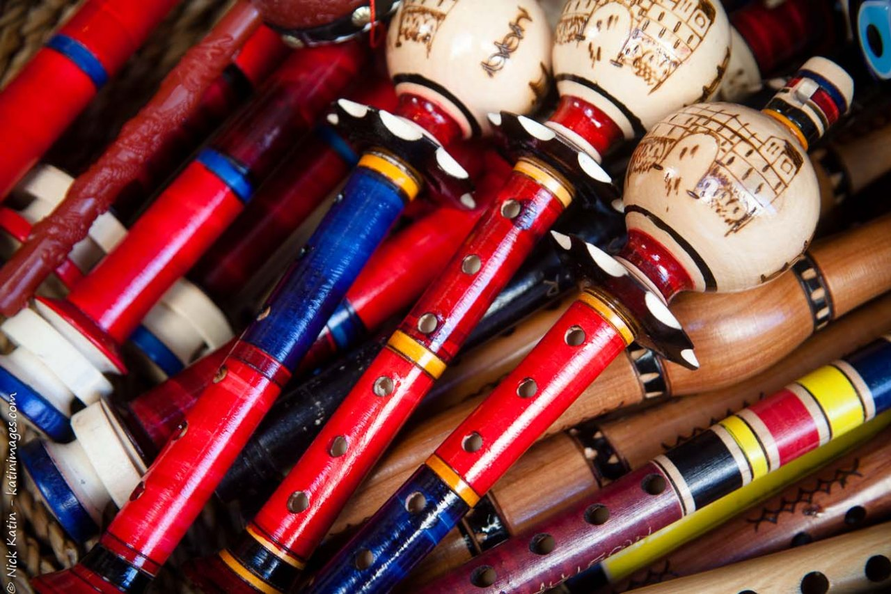 Colourful flutes. Hand painted musical instruments in Mostar