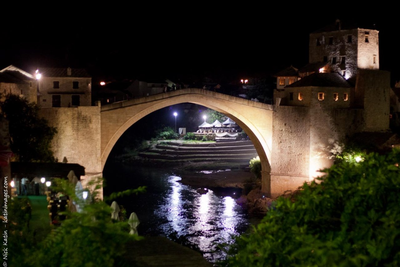 Stari Most at night. Mostar's old bridge that was destroyed during the Balkans war.