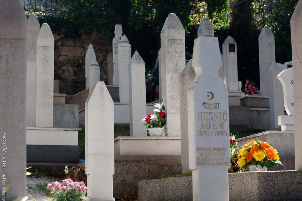 Muslim Cemetery In Mostar Bosnia. many of these are victims of the Balkans war.