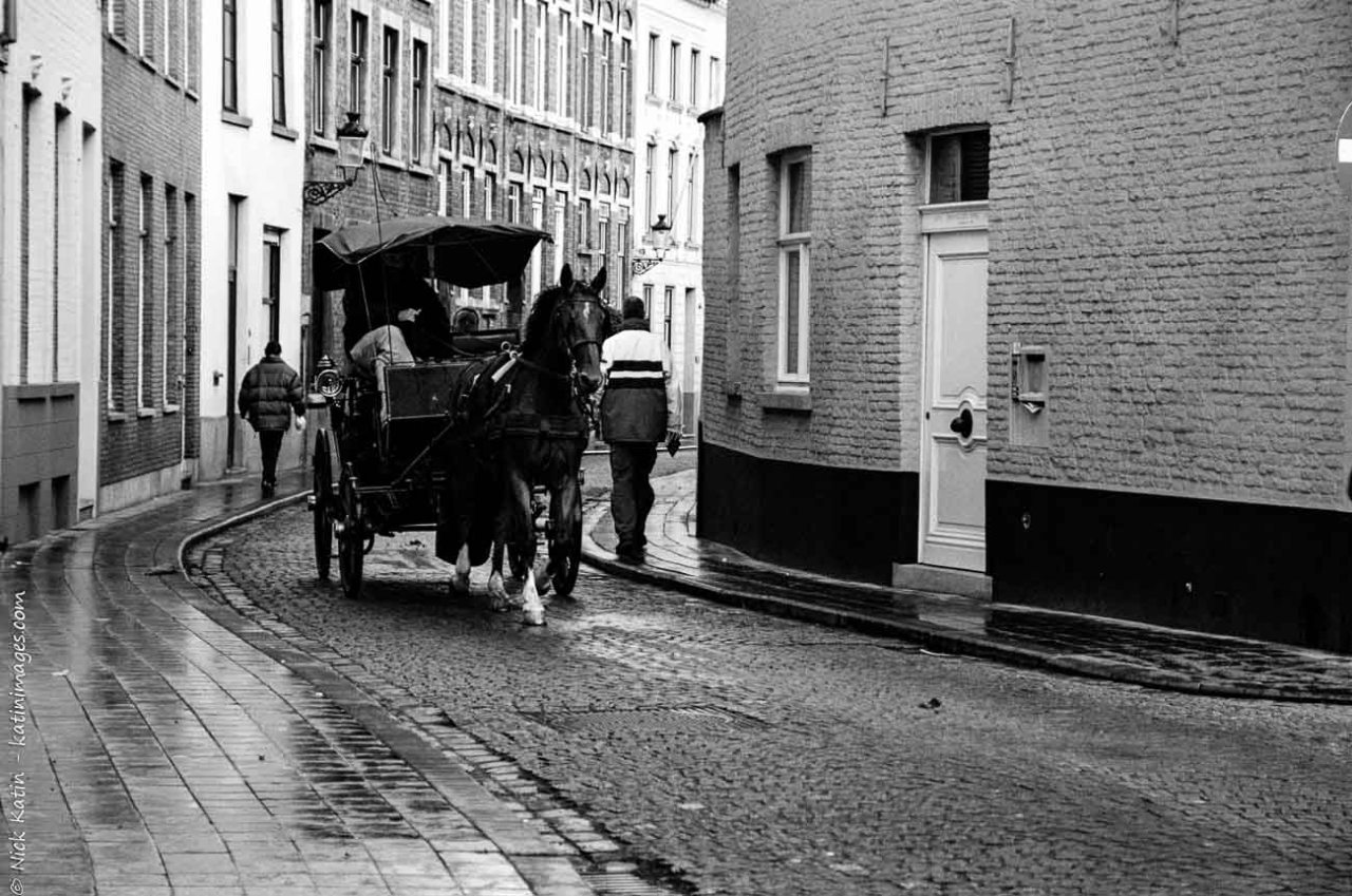 """Horse and Carriage popular with tourists who visit Bruges, the 'Venice of northern Europe"""",Belgium"""
