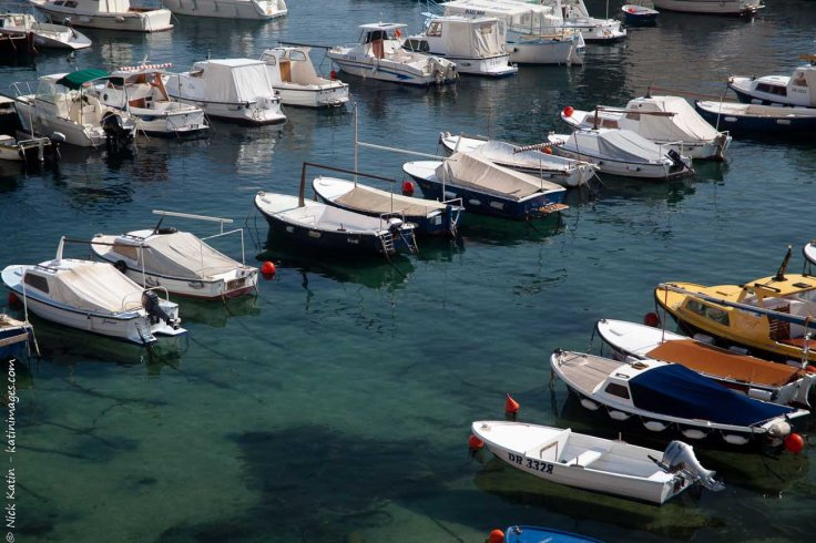 Boats moored in Dubrovnik's old harbour