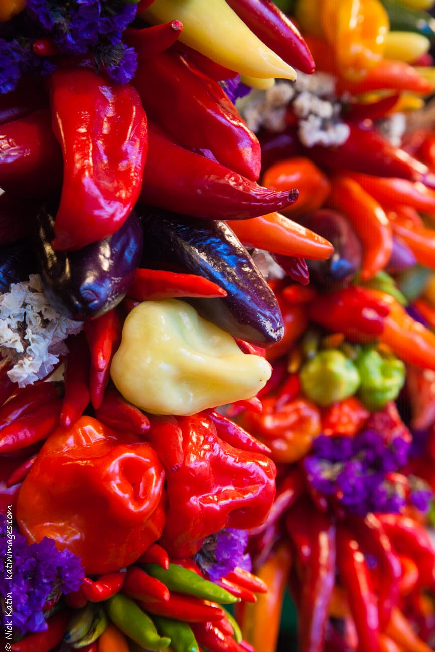 Hanging chillis in Pike Place markets in Seattle, Washington, USA