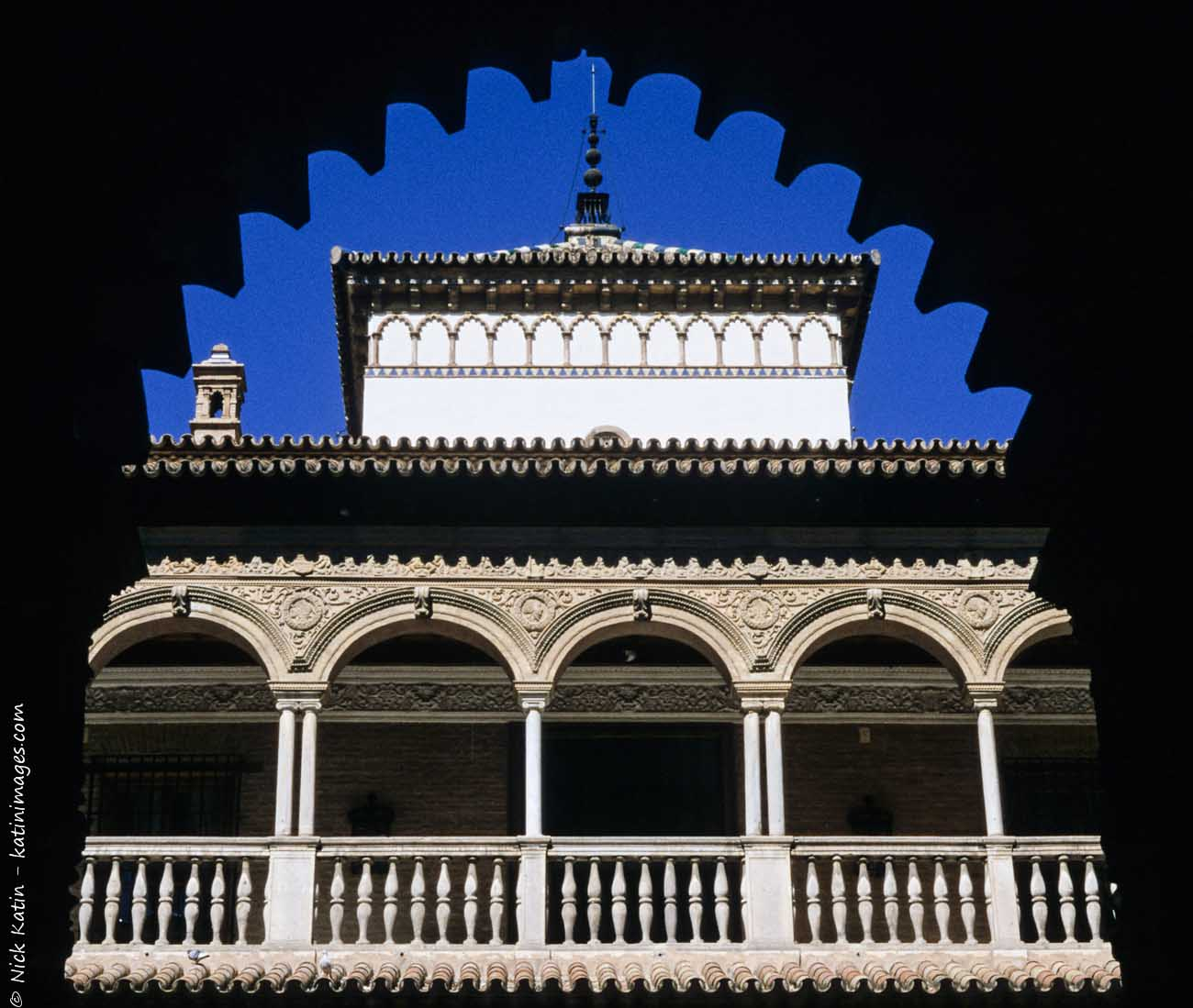 One of the beautifully crafted buidlings of the Alcazar in Seville, Spain