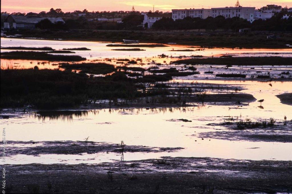 Coastal marshland at dusk near Faro in Southern Portugal