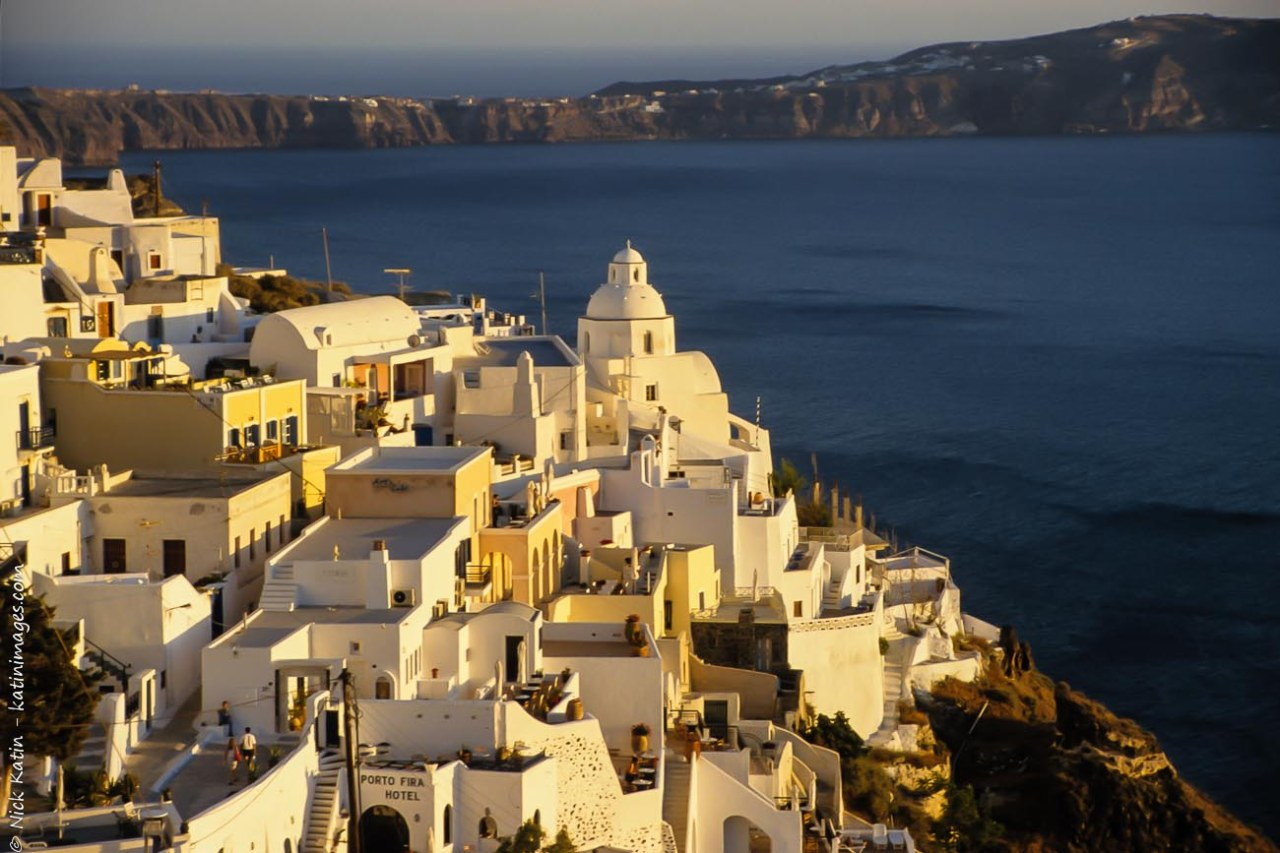 Fira, the main town in Santorini at dusk.