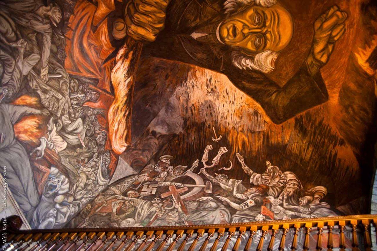 Mural by Jose Clemente Orozco in Palacio de Gobierno, Guadalajara, Mexico