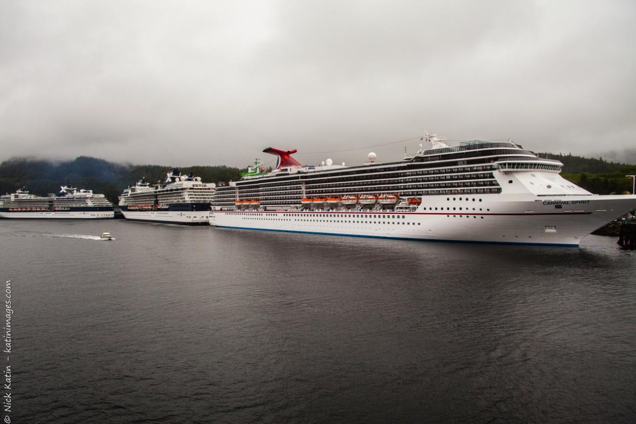 Docked Cruiseships at Ketchikan on the Alaska marine highway and inside passage.