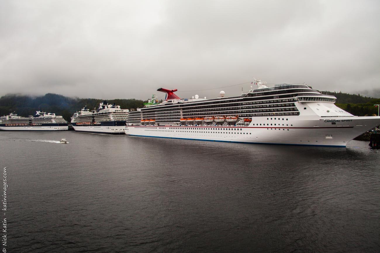 Docked Cruiseships at Ketchikan on the Alaska marine highway and inside passage.