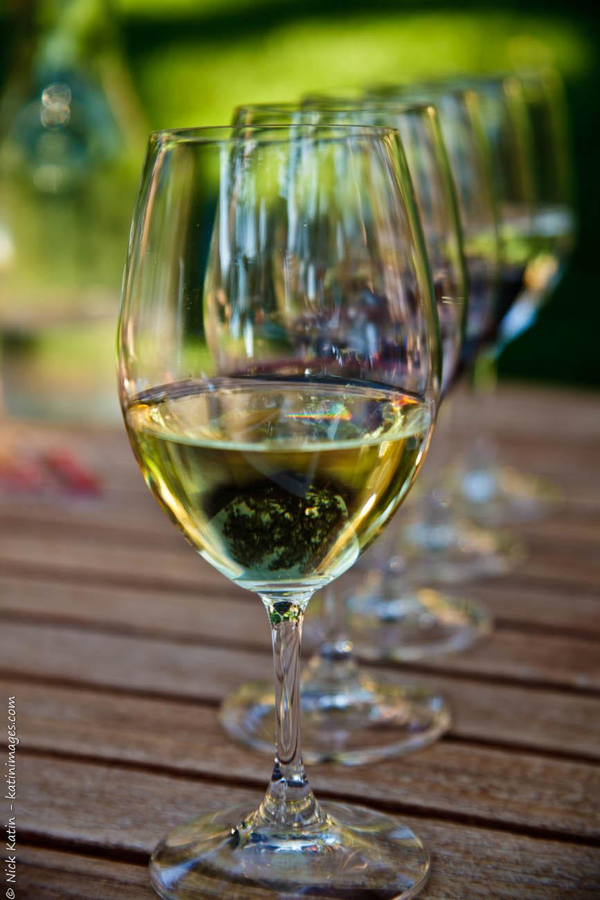 Wine tasting glasses at Beringer winery in the Napa Valley