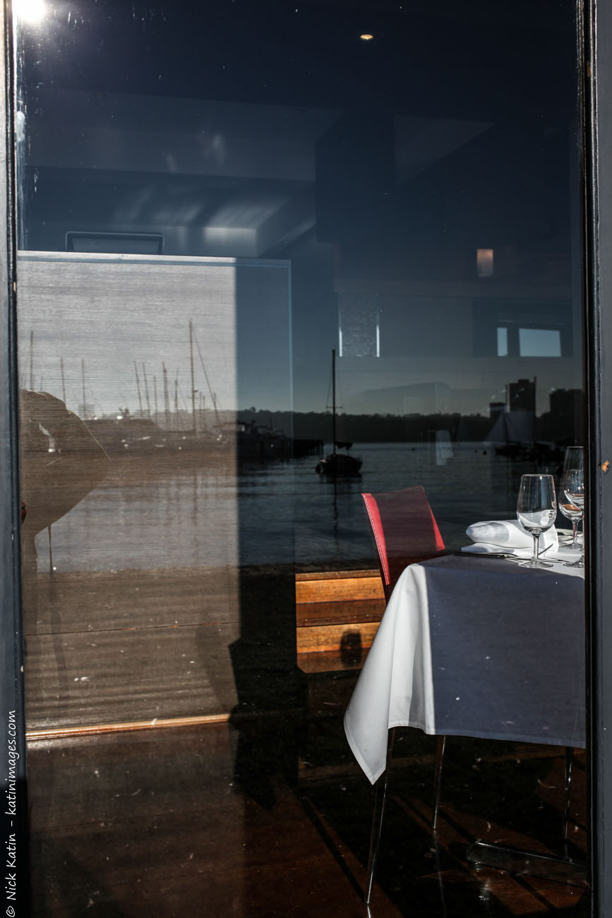 Reflections from the restaurant at Matilda Bay part of Perth's Swan River in Western Australia