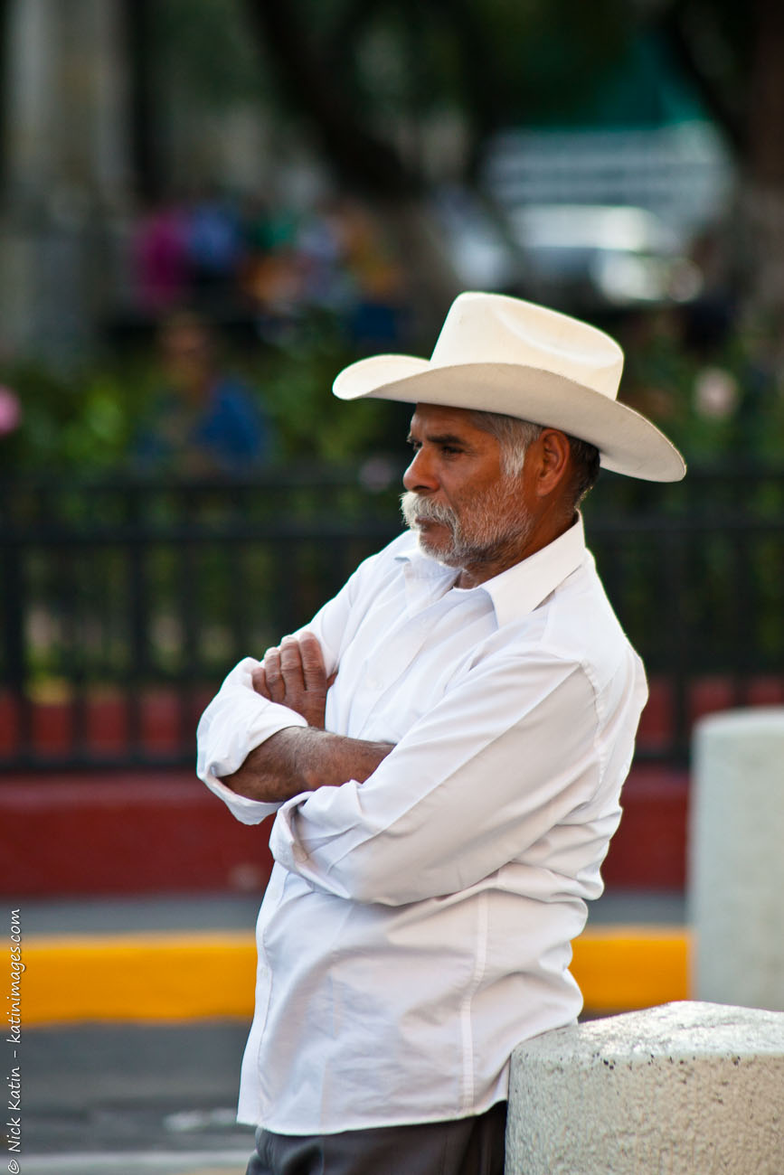 Leaning Mexican Cowboy in Guadalajara, Mexico