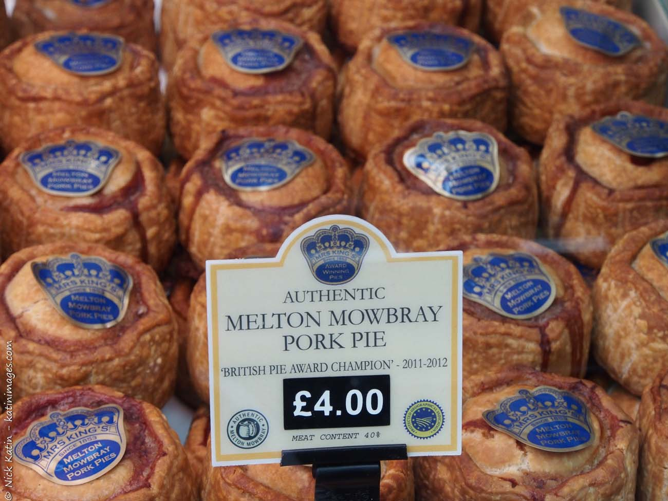 Pork Pies at one of London's famous markets, Borough Markets which is devoted entirely to food.