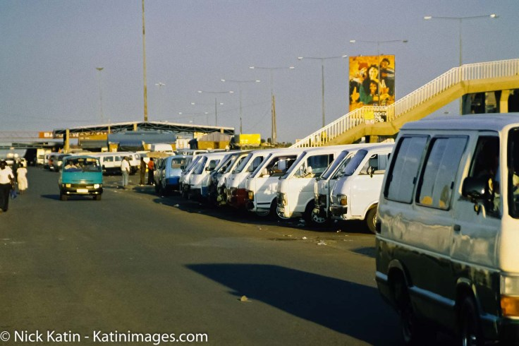A Mini Van 'depot' in Johannesburg in South Africa. Mini Vans are the most popular form of public transport in the urban areas of South Africa.