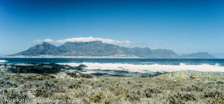 Table Mountain in Cape Town from Robben Island former prison of Nelson Mandela