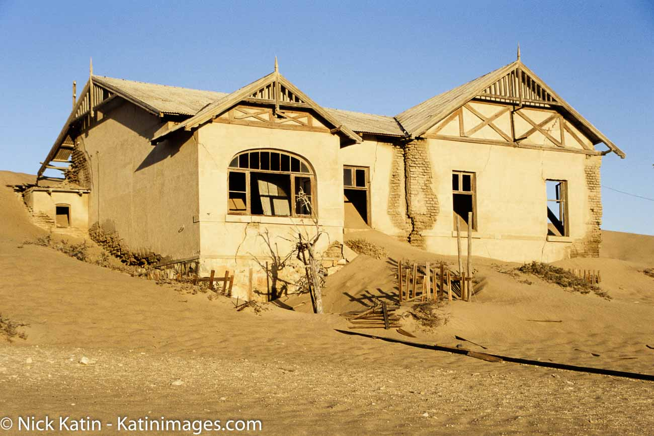 The ruins of the ghost town of Kolmanskop in the Namib desert in southern Namibia, a few kilometres inland from the port town of Lüderitz