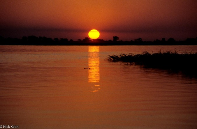 Sunset on the Chove River in Chobe National Park, Botswana
