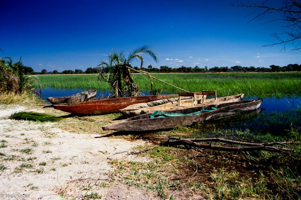 Dug out canoes at the Okavango delta in Botswana