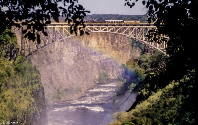 Victoria Falls and the Zambezi Bridge from the Zambia side