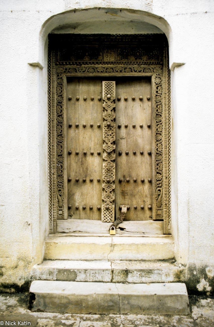 A typical wooden door in Zanzibar town, Tanzania