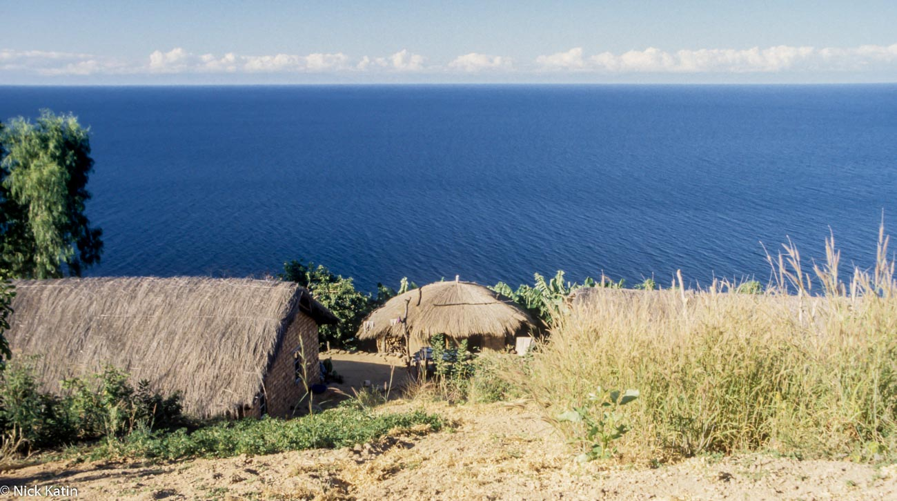 Small cluster of huts on Lake Malawi's eastern shore
