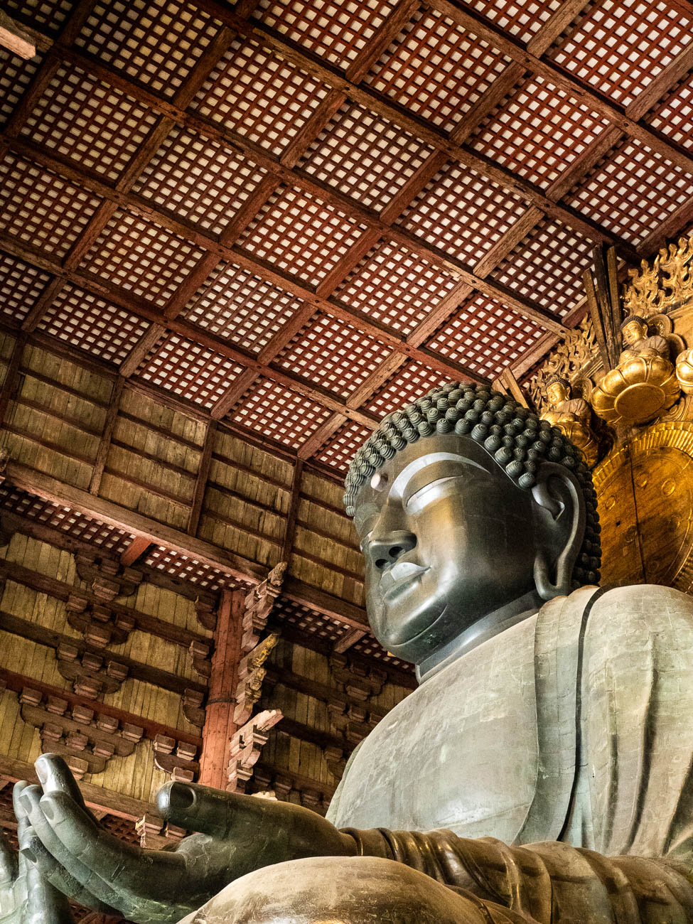 The great Buddha stature in the Todai-ji Temple at Nara, Japan