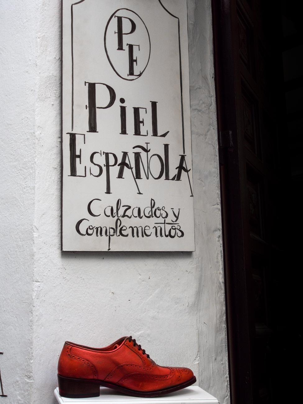 Stock photo of spanish shoe shop