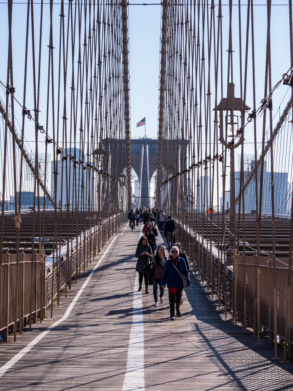 Brooklyn Bridge walk way New York