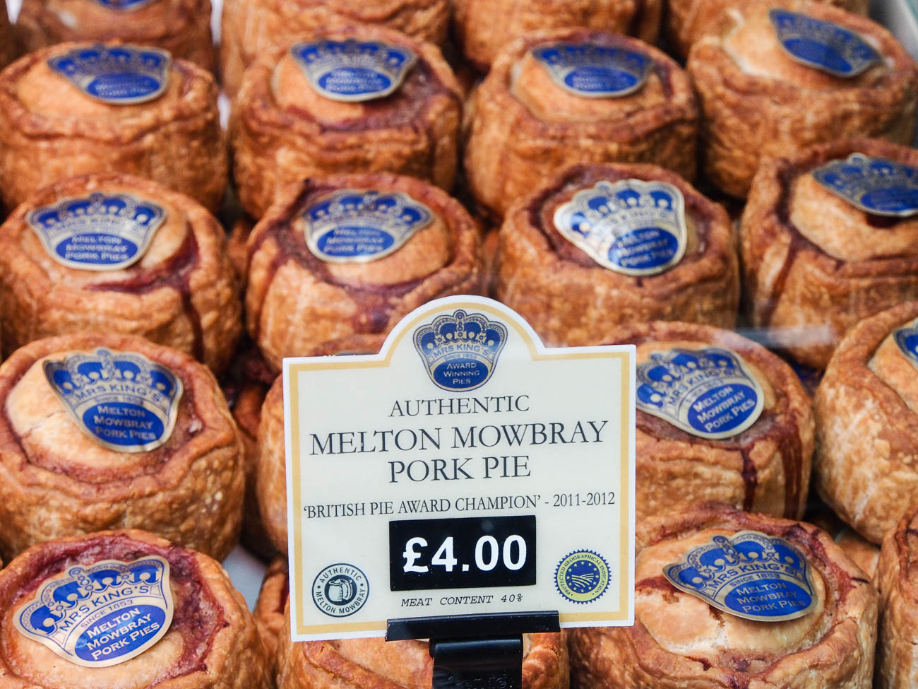 Pork Pies at one of London's famous markets Borough Markets that is devoted entirely to food.