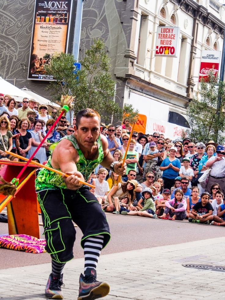 The street art act, Dream State Circus at the Street arts festival in Fremantle, Western Australia. the festival attracts over 100,000 spectators over the Easter long weekend.