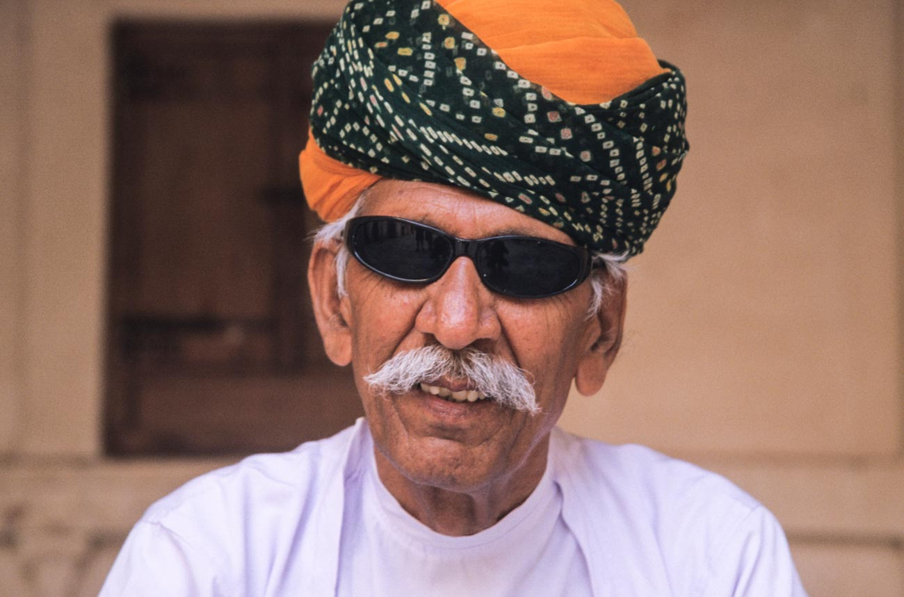 Man in turban at Mehrangarh Fort in Jodhpur, Rajasthan.