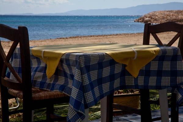 Table on the beach Kefalonia, Greece