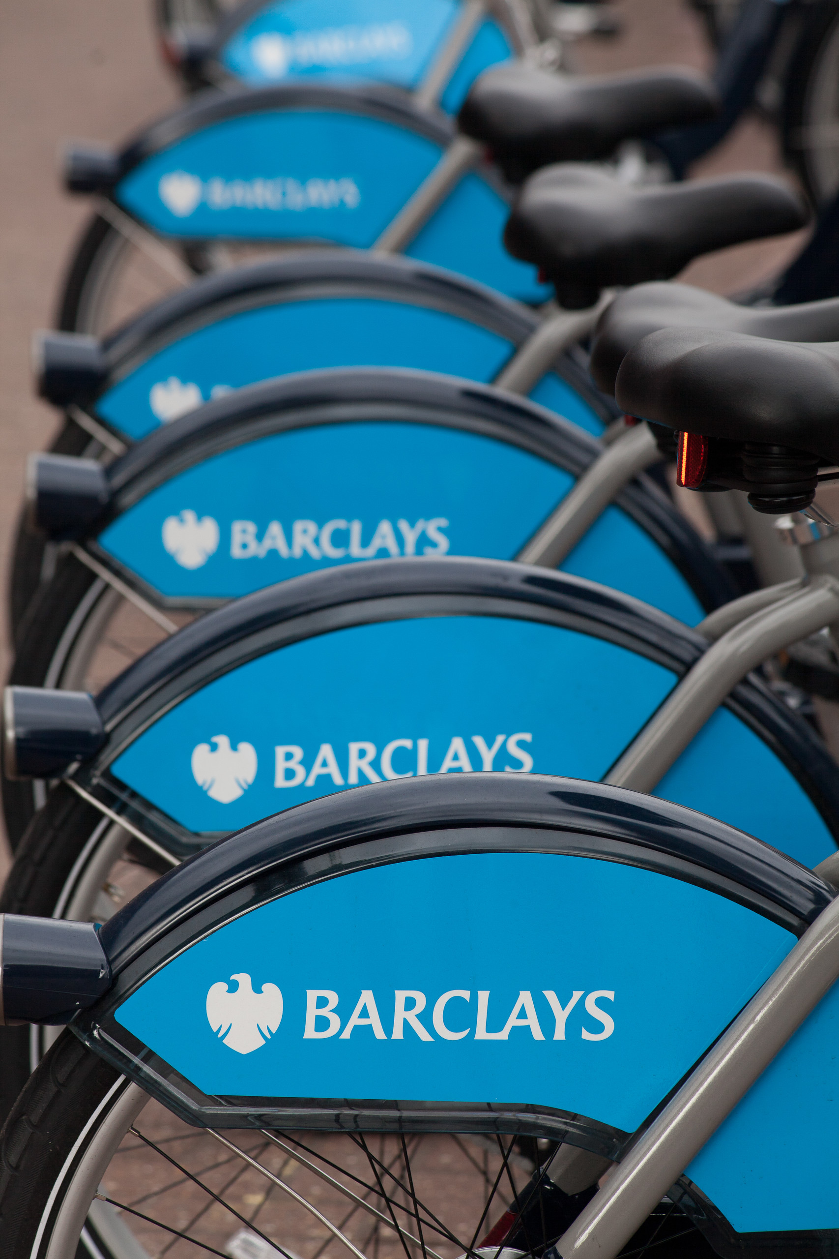 Barclays cycle hire stations are dotted all around Central London, England