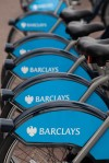 Barclays cycle hire stations are dotted all around Central London, England.