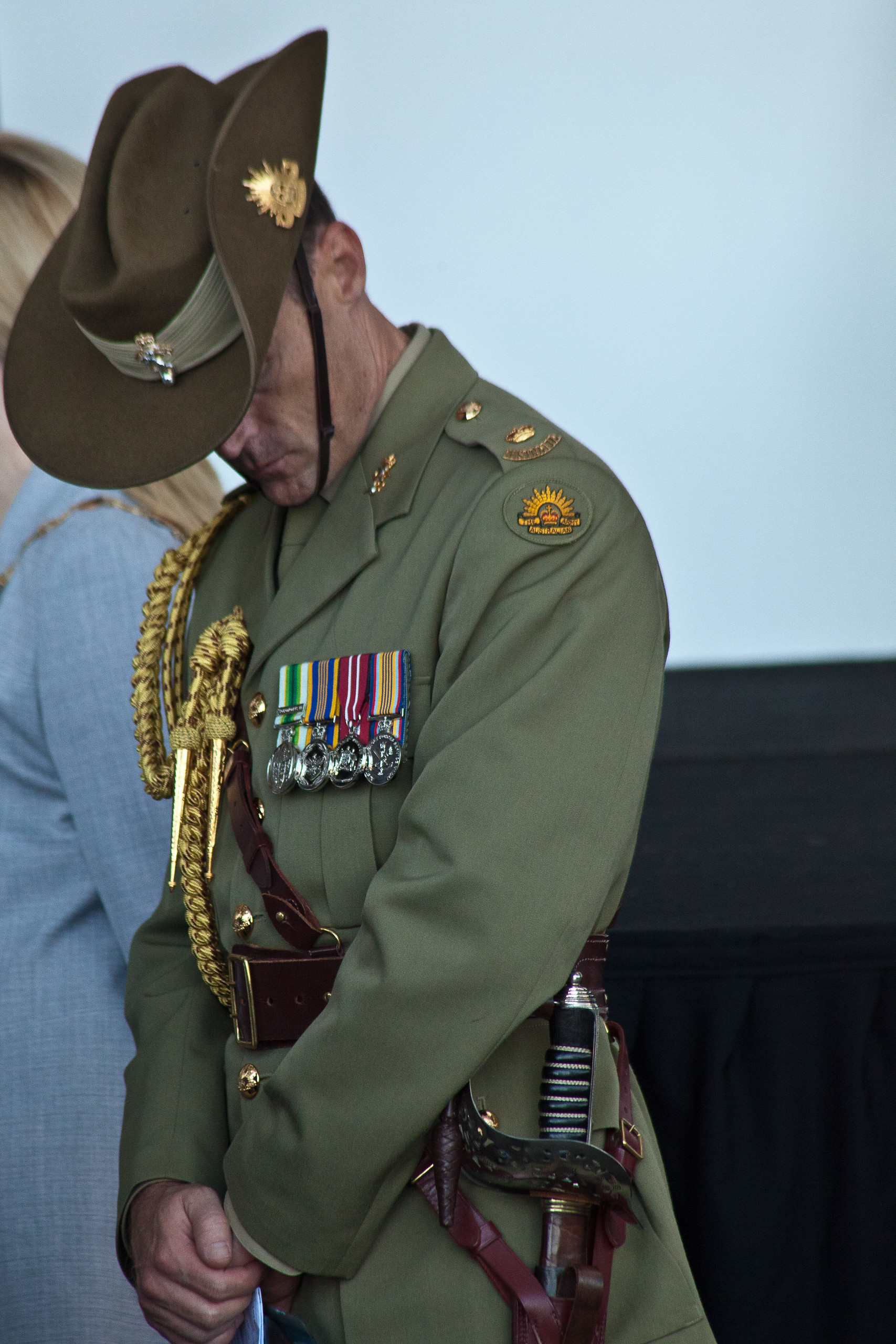Soldier & medals on Anzac day Perth 2011