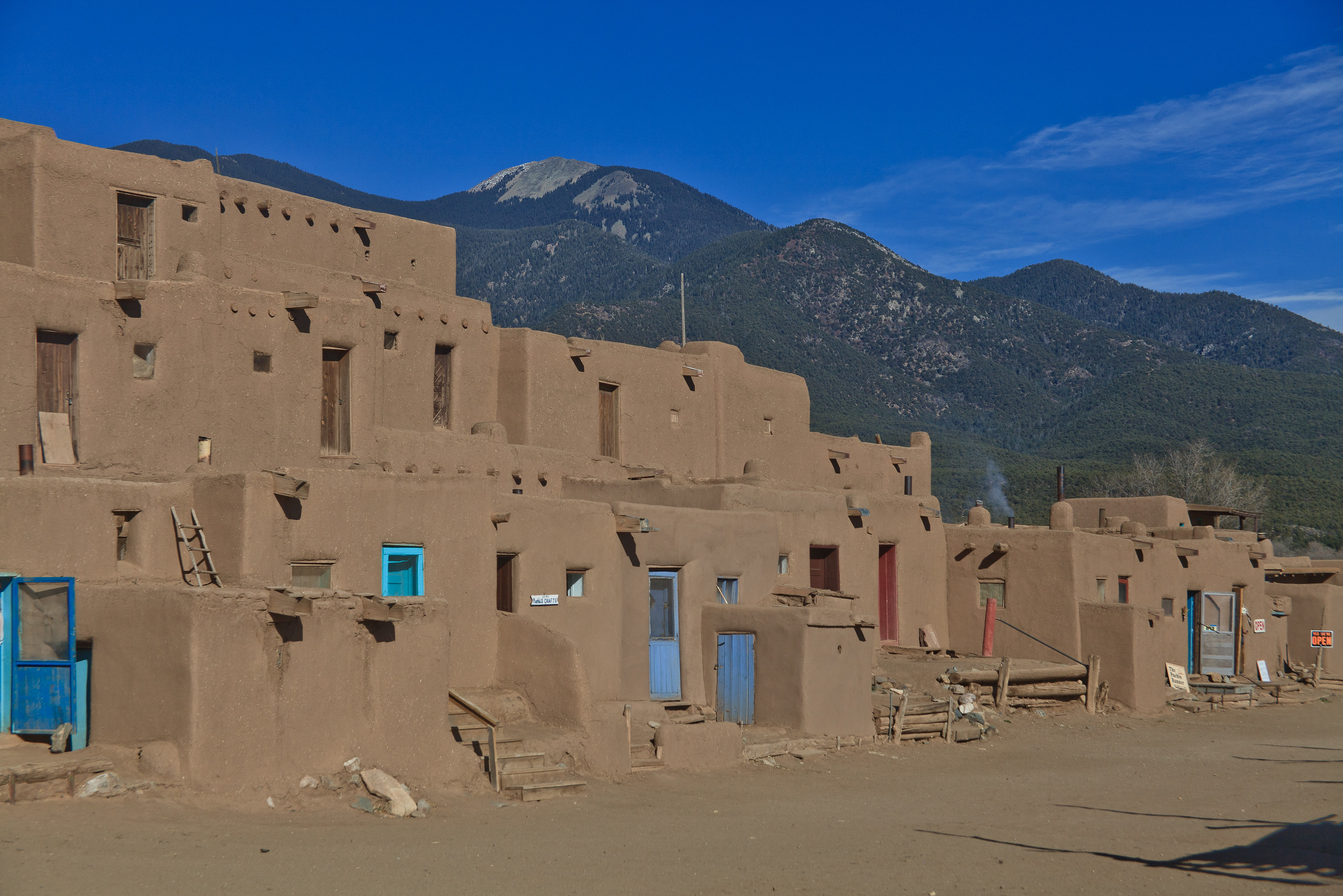 The ruins of Taos Pueblo in Taos, New Mexico, USA predates the Spanish arrival in the Americas.